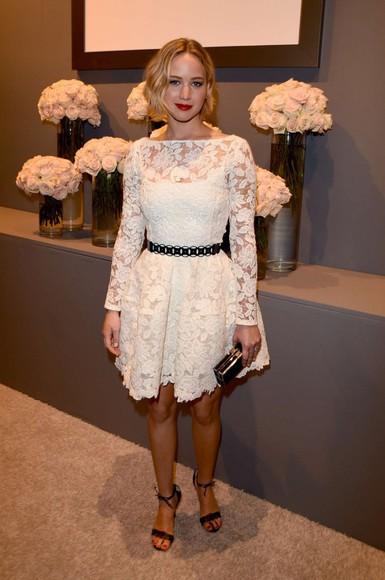 dress prom dress lace dress white dress jennifer lawrence sandals