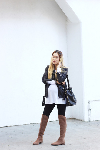 love joo kim blogger maternity brown leather boots suede boots top leggings jacket shoes bag maternity top
