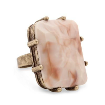 Marbleised pink facet stone adjustable ring - Rings - Debenhams.com