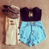 tank top,black,shorts,style,sea blue,sweater,shoes,shirt,jewels,clothes,fashion,real,these,girl,summer,tumblr,weheartit,high waisted,croptank,bracelets,necklace,boots,outfit,black bustier,bustier crop top,corset top,top shop,t-shirt,sunglasses,cardigan,top,blue shorts,High waisted shorts,denim shorts