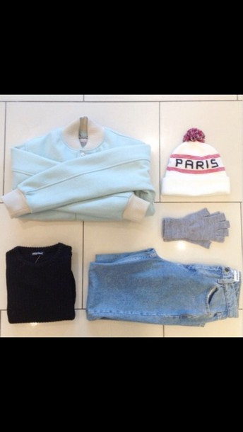 pants jeans jumper hat shoes alternative pale light blue