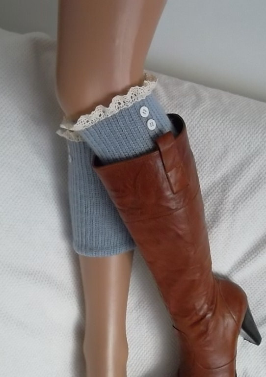 Grey boot cuffs with lace and buttons boho boot socks lace cuffs women's accessory leg warmers back to school