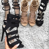 shoes,high heels,heels,strappy heels,strappy,black heels,nude heels,tumblr girl,lace up heels,black,nude,high heel sandals