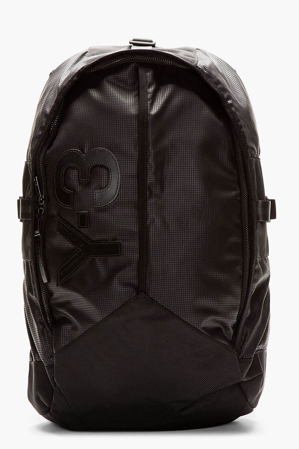 y_3 black graph print mesh_back backpack
