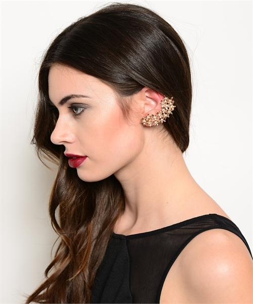 Bodycandies ? gold flower rhinestone earcuff
