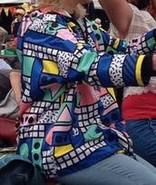 coat,geometric pastel shapes print