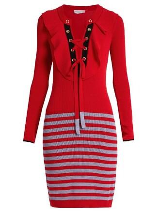dress striped dress knit lace red