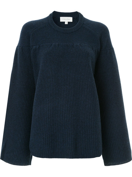 Ck Calvin Klein jumper oversized women blue wool sweater