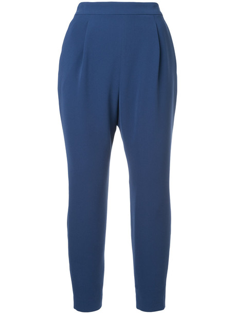 Estnation pleated cropped women blue pants
