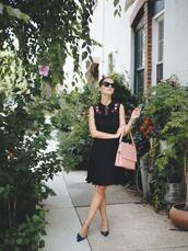 dress,midi dress,sleeveless dress,tumblr,blue dress,sleeveless,shoes,slide shoes,mid heel pumps,bag,pink bag,work outfits,office outfits