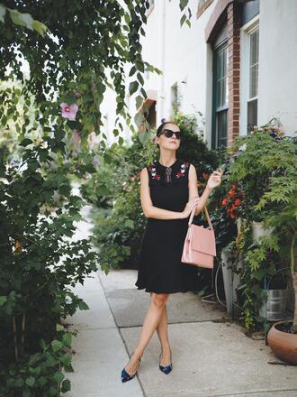dress midi dress sleeveless dress tumblr blue dress sleeveless shoes slide shoes mid heel pumps bag pink bag work outfits office outfits