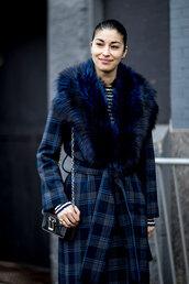 coat,nyfw 2017,fashion week 2017,fashion week,streetstyle,blue coat,tartan,plaid,printed coat,fur collar coat,top,striped top,stripes,bag,mini bag,chain bag