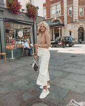 shoes,white sneakers,white pants,wide-leg pants,cropped pants,blouse,handbag