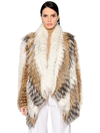 jacket fur jacket fur fox white beige