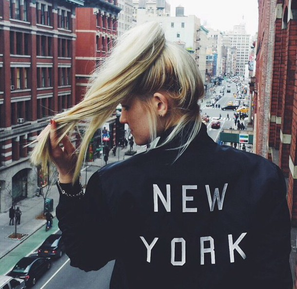 jacket black new york city bomber jacket brandy melville fashion city City love new york city brandy melville new york city dark blue winter jacket winter outfits fall jacket fall outfits fall winter outfits grunge black jacket blonde hair grunge jacket edgy sweater blouse