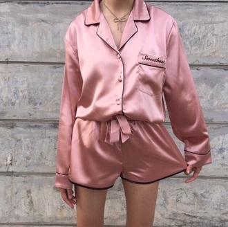 romper nightwear pink quote on it cute