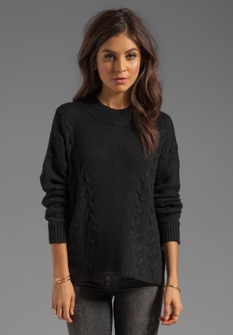 LNA Braided Turtleneck Sweater in Black - Black
