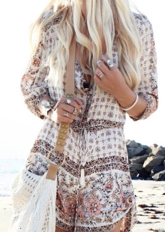 romper zaful girly girl style summer outfits summer print fashion floral flowers long sleeves blonde hair accessories ring rings and tings knuckle ring jewels jewelry boho cute