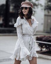 hat,polka dress,polka dots,polka dots dress,white dress,long sleeve dress,v neck dress,baker boy hat,sailor hat,sunglasses