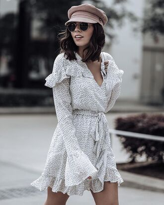 hat polka dress polka dots polka dots dress white dress long sleeve dress v neck dress baker boy hat sailor hat sunglasses