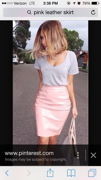 skirt pink leather cute outfits midi skirt