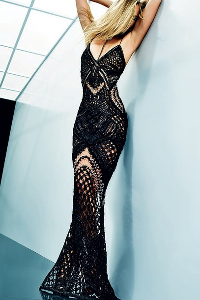 Dress Lace Dress Maxi Dress See Through Black Dress Balmain