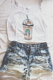 white top,denim shorts,ripped shorts,tank top,starbucks coffee,white crop tops,shorts,shirt,white tank top,white,drawing,t-shirt,summer outfits,cute shirt,style,cross,blonde hair,orange shirt,cute,white with black palm trees,crop tops,top,short,jeans,bag,cool,teenagers,summer,denim,distressed denim shorts