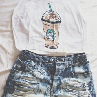tank top Starbucks carmel frappuccino fresh tops crop top fresh tops ...