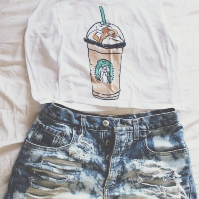 russe green brown beach ripped jeans ripped shorts crop tank pants ...