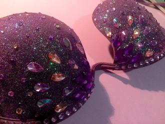 underwear glitter purple rave rave bra edc festival bra costume customized disney princess princess fashion sparkle strass