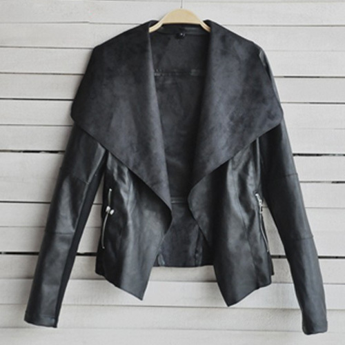 [grxjy562395]fashion solid color lapel long sleeve pu leather coat