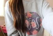 sweater,5 seconds of summer,flowers,grey sweater,floral,sweatshirt,jumper,tumblr,life,pink,grey,baggy,shirt,pullover,5sos grey sweater,5sos jumper,light grey,roses,5sos merch,hoodie,purple,5sos sweatshirt,grunge,girly