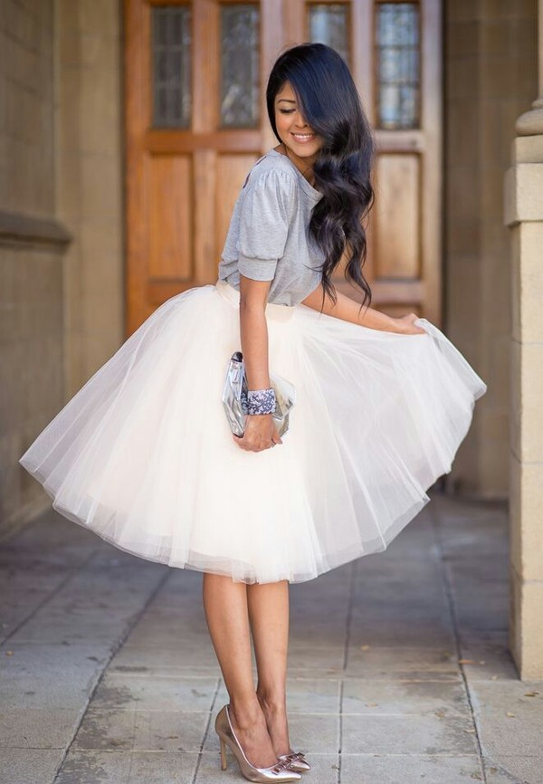 skirt blouse t-shirt t-shirt women t shirts top shoes peach shirt grey puffy sleeves back cut outs tutu white