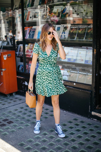 shoes tumblr sneakers high top sneakers converse high top converse dress green dress wrap dress floral floral dress bag sunglasses