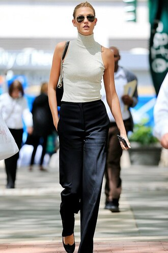pants top flats ballet flats karlie kloss shoes