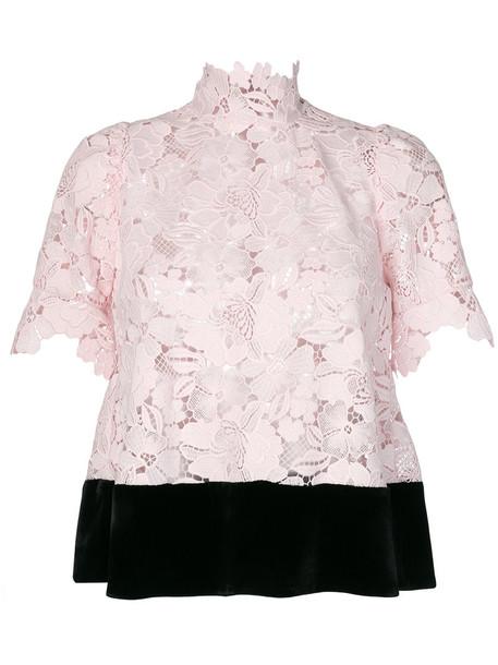 No21 top lace top women lace silk purple pink