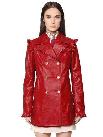 coat double breasted leather red