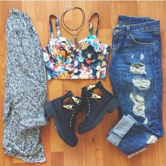 top bralette boyfriend jeans ripped jeans boots cardigan jeans shoes