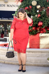 stylishsassy&classy,blogger,dress,bag,shoes,jewels,plus size dress,red dress,lace dress,party dress,plus size,new year's eve,gucci bag,high heel pumps