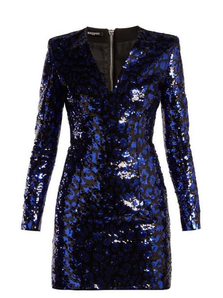Balmain - Leopard Sequined Mini Dress - Womens - Black Blue