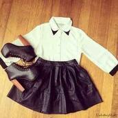 shirt,vintage,leather,black leather skirt,leather skirt,platform heels,high heels,High waisted shorts,laced heels,laced shoes,shoes,skirt