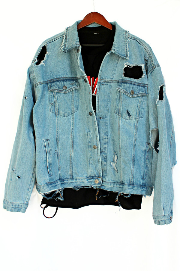 jacket justvu.com denim vintage grunge denim jacket hipster blogger distressed denim jacket badass back to school 80s style 90s style