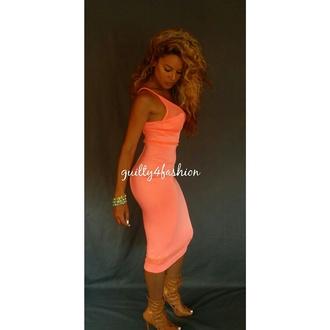 dress coral dress bodycon dress mesh dress