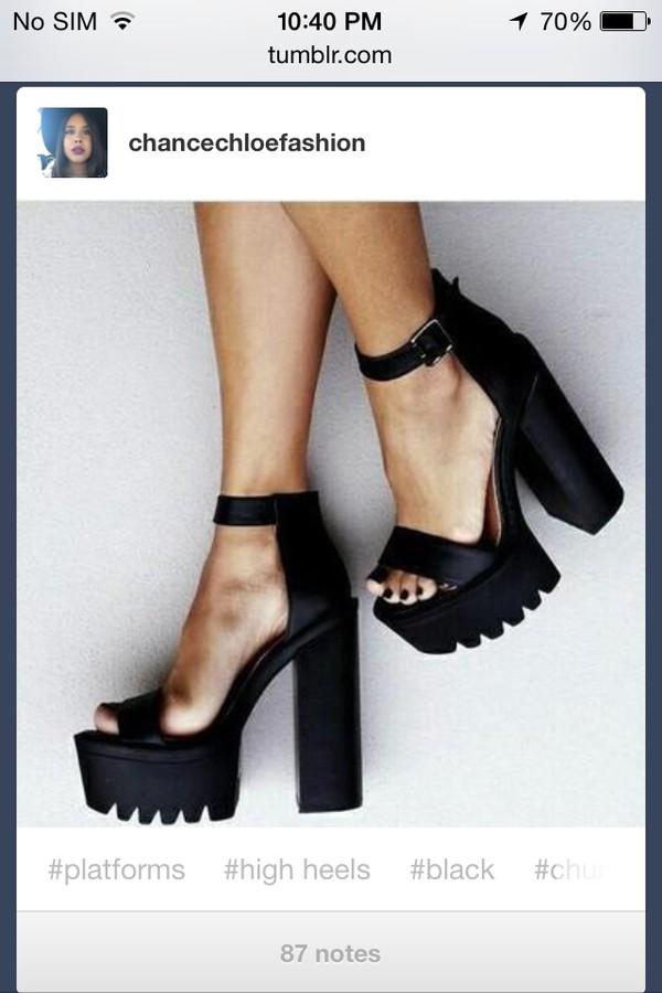 goth heels black  high heels goth hipster thick heel