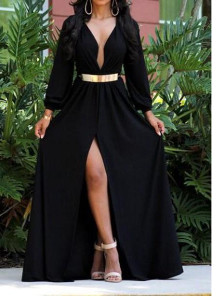 Dress Black Dress Maxi Dress Long Sleeves Deep V Neck Dress