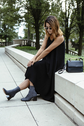 chicityfashion blogger dress shoes bag sunglasses jewels black dress black bag ankle boots printed boots black midi dress midi dress mid heel boots thick heel block heels