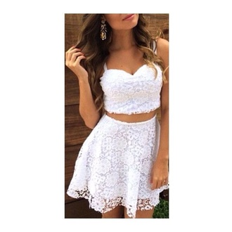 dress lace dress white lace dress white dress crop tops white crop tops lace skirt cute little white dress cute white crop top lace top white lace skirt cute dress two piece dress set