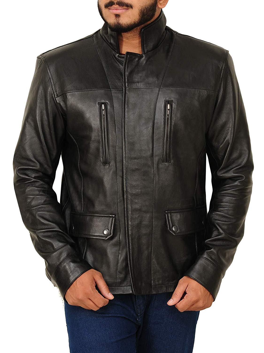 TrendHoop Premier Fashion Men's Hand Waxed Motorcycle Lambkin Leather Jacket at Amazon Men's Clothing store: