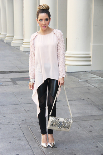 shirt asymmetric shirt pink shirt asymmetrical leggings leather leggings black leggings pumps gold pumps metallic shoes bag metallic bag embellished bag asymmetrical top