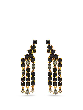 embellished earrings black jewels